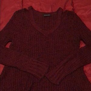 AE strappy shoulder cable knit sweater